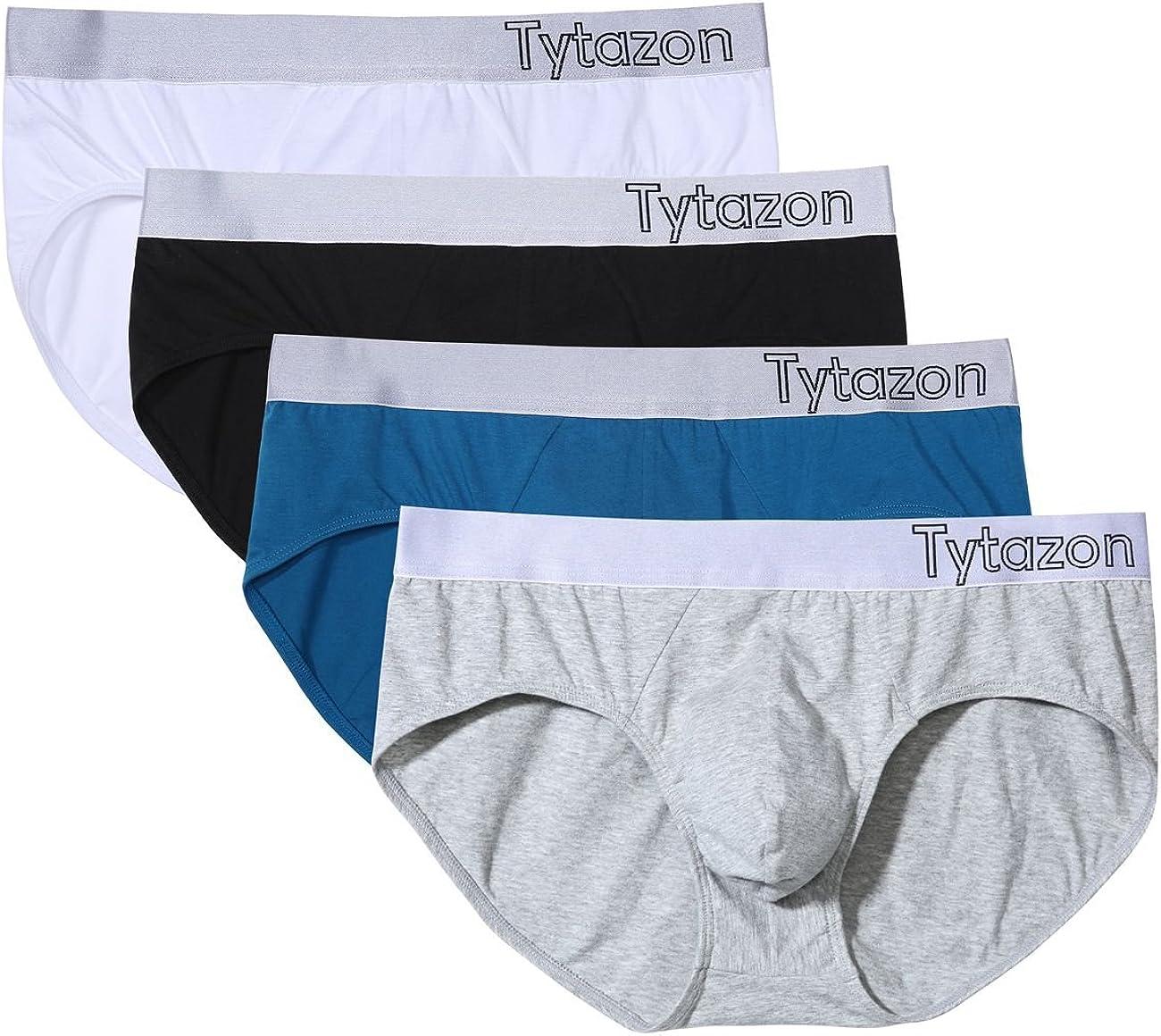 Tytazon Mens 4 Pack Cotton Hip Briefs Suport Hip