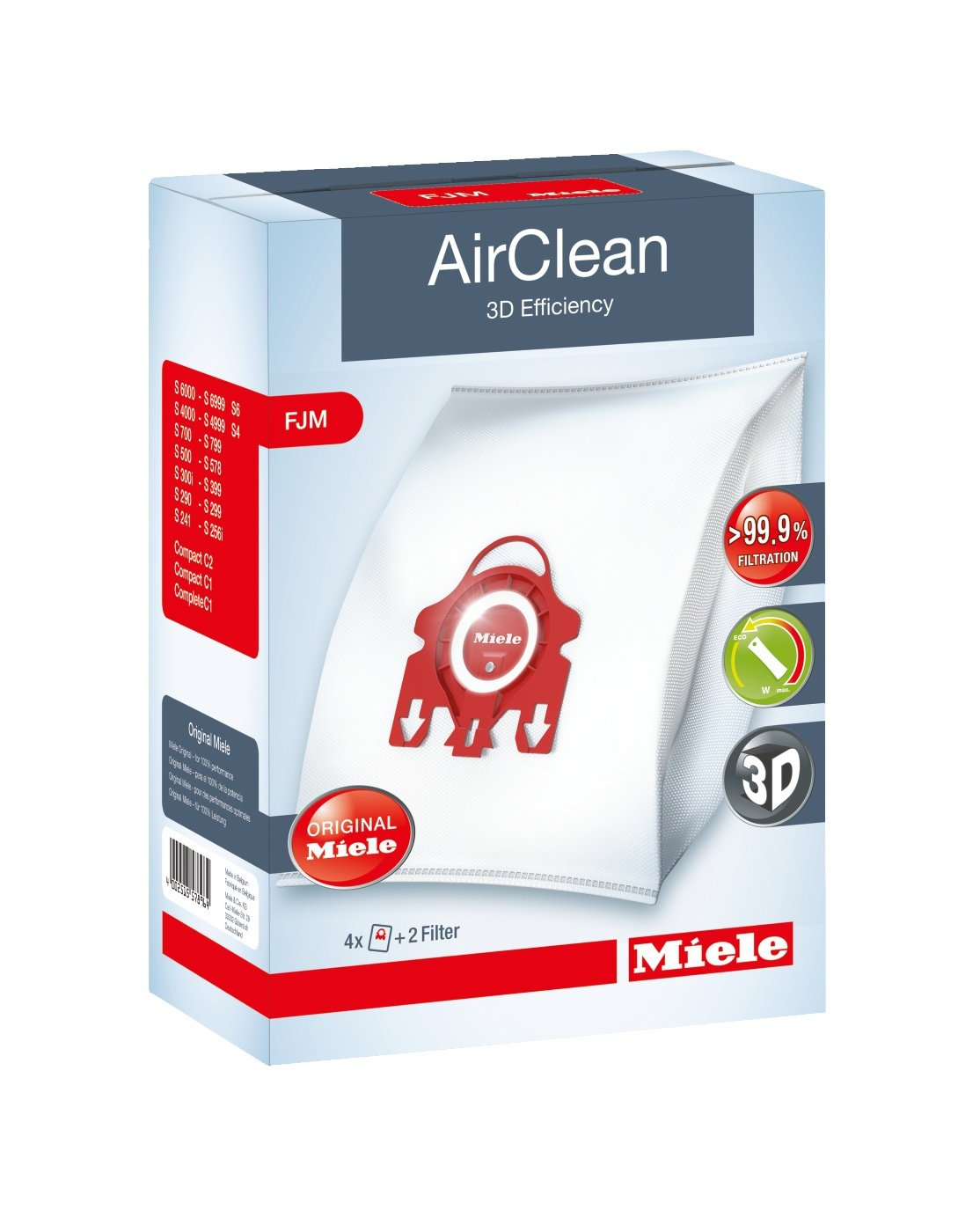 Miele AirClean 3D Efficiency Dust Bag, Type FJM, 12 Bags & 6 Filters