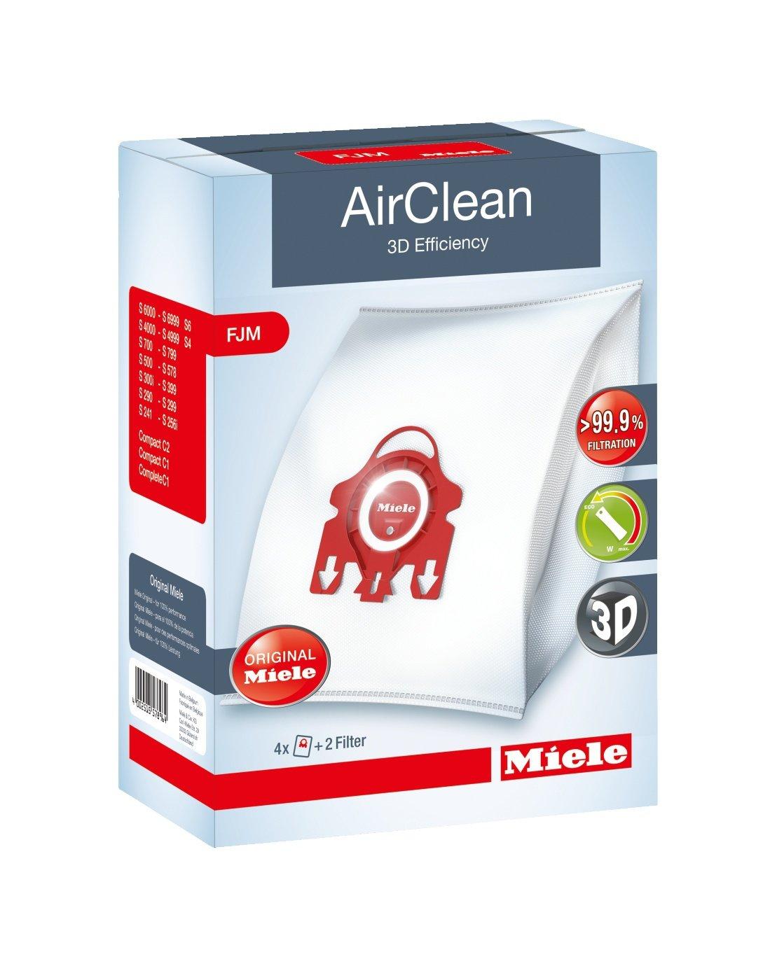 Miele AirClean 3D Efficiency Dust Bag, Type FJM, 12 Bags & 6 Filters