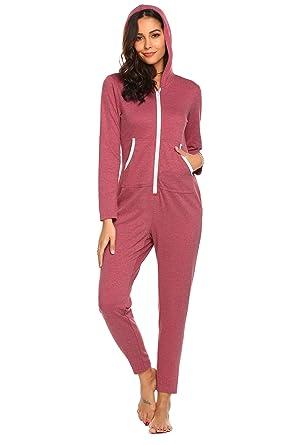 Bestbewertete Mode Entdecken Original- Pyjama Schlafoverall Jumpsuit Langarm Damen Oberteil Nachtwäsche Herbst  Schlafanzug Baumwolle