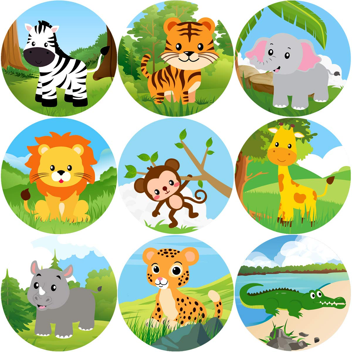 Fancy Land Zoo Animal Sticker Jungle Friends Perforated 200Pcs Per Roll for Kids Party