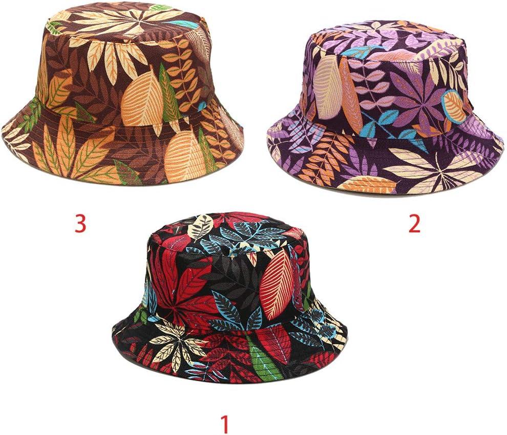 A0127 Bob Chapeau Feuilles Multicolores Unisexe Chapeau Double Face