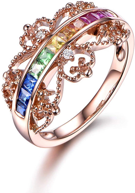 KnSam Joyas-Te Amo por Siempre&Anillos Compromiso Mujer Oro Anillo de Diamante 1.24CT de 18K de Oro Anillo de Rojo de la Talla de 6,5-21
