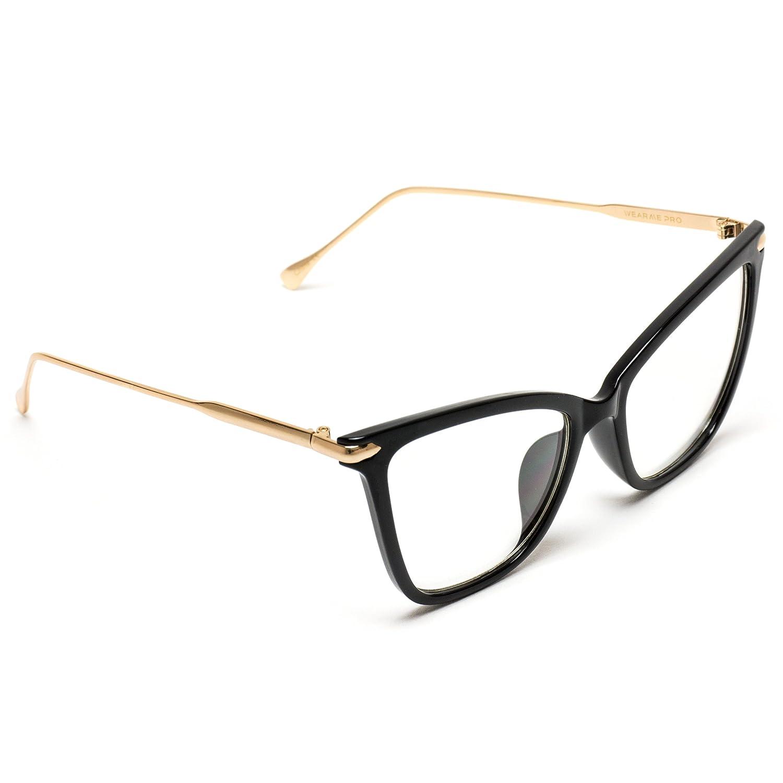 WearMe Pro New Elegant Oversized Clear Cat Eye Non-Prescription Glasses
