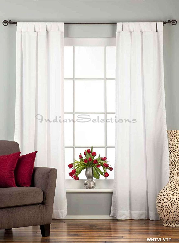 Indian Selections White Tab Top Velvet Café Curtain/Drape/Panel - 43W x 24L - Piece