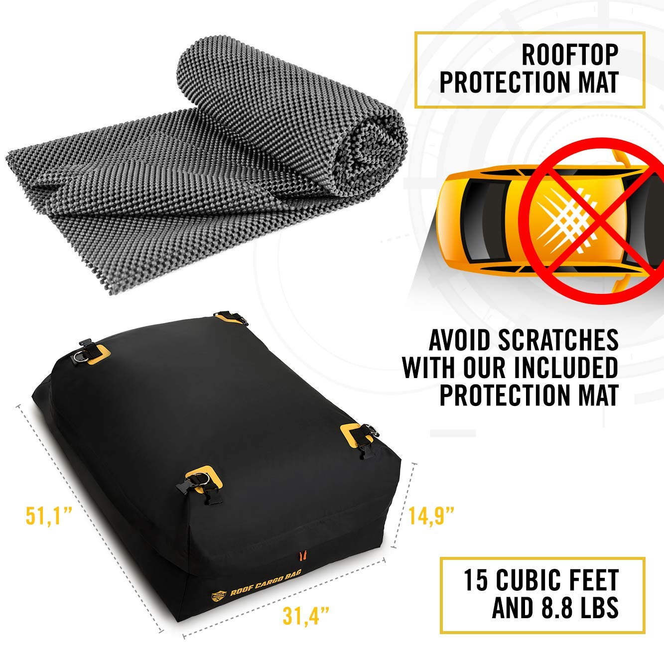 Car Top Carrier Roof Bag + Protective Mat - 100% Waterproof & Coated Zippers 15 Cubic ft - for Cars with or Without Racks by ToolGuards (Image #8)