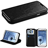 NageBee(TM) - Samsung Galaxy S3 I9300 - Wallet Flip Case Pouch Cover Fold Stand case Premium Leather Wallet Flip Case + {LCD Screen Protector Shield(Ultra Clear) + Touch Screen Stylus} (Fold Wallet Black)
