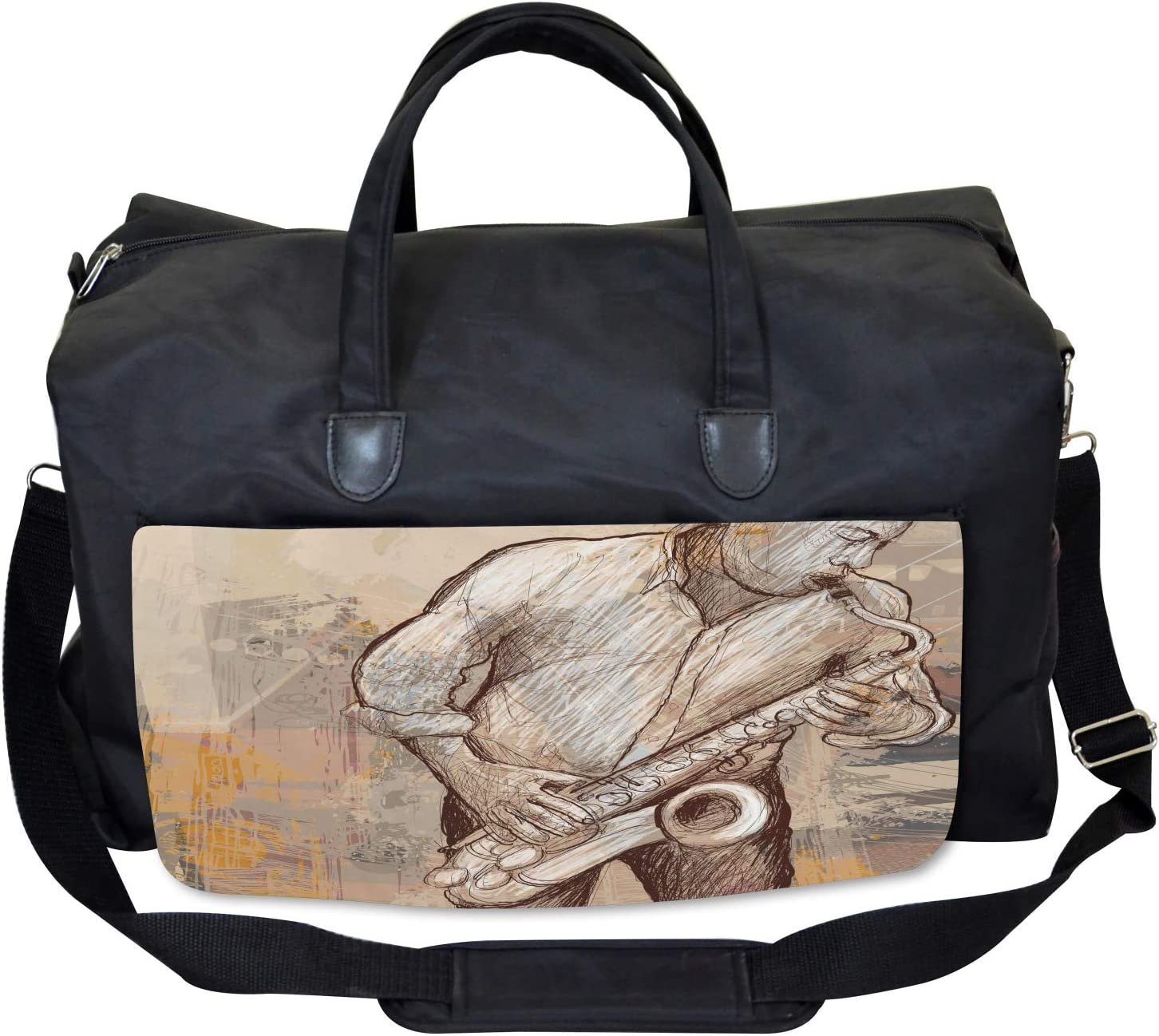 Jazz Musician on Street Large Weekender Carry-on Ambesonne Music Gym Bag