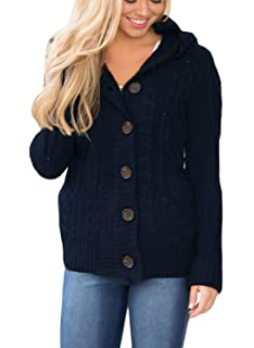 a38ecc51ea Astylish Women Button Down Long Sleeve Basic Soft Knit Hooded Cardigan  Sweater