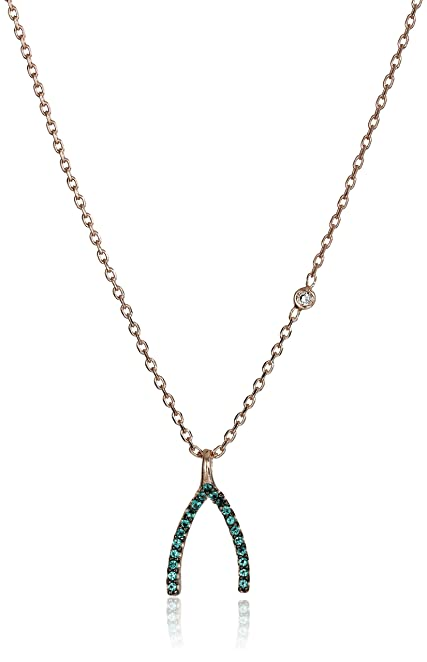 Amazoncom Tai Rose Gold Green Wishbone Chain Necklace 16 2
