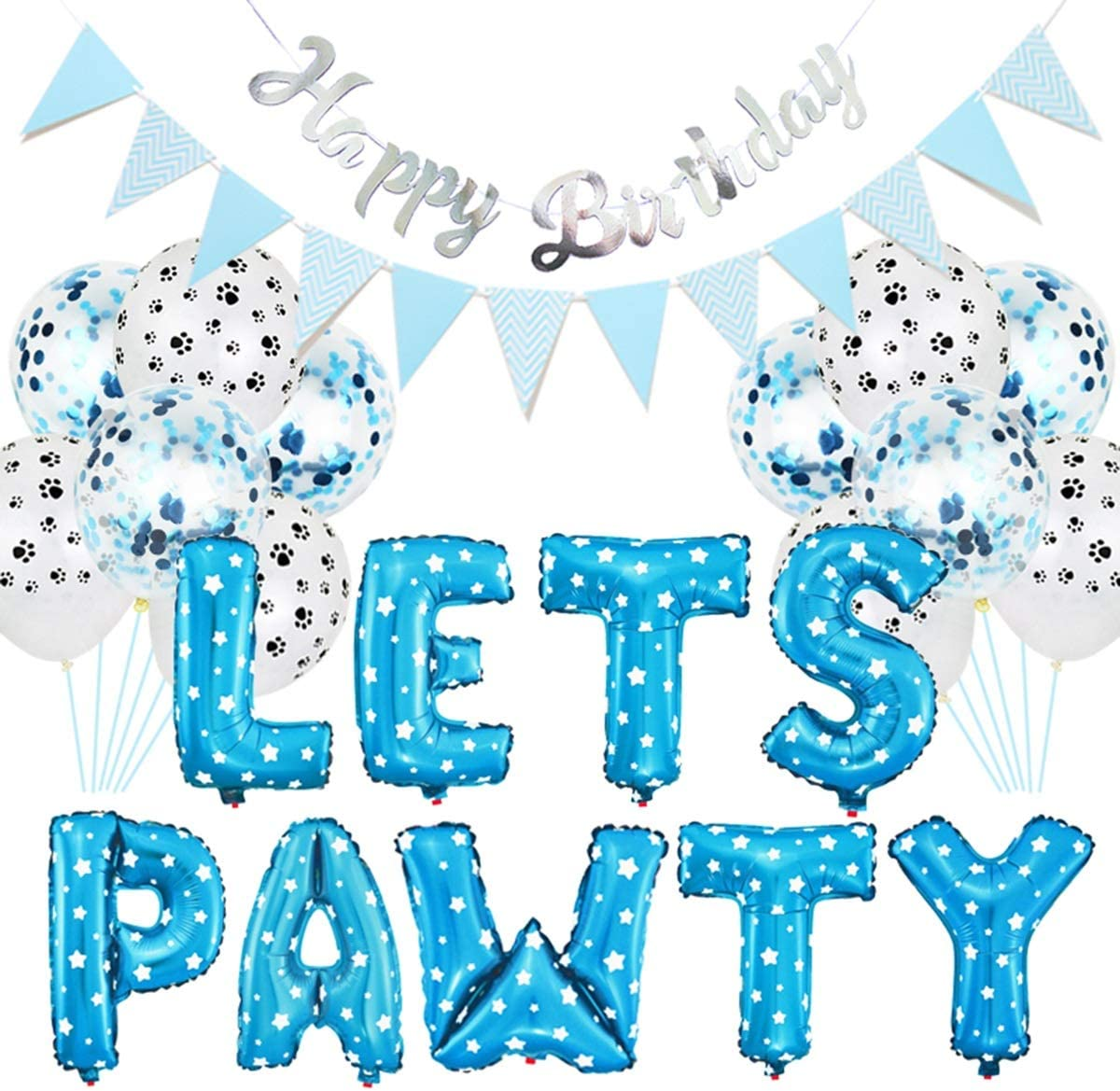 Haokaini Lets PAWTY Decor for Dog Cat, 23Pcs/Set Party Decor Kits, Balloons Birthday Banners Party Supplies for Dog Cat Pets Supplies
