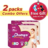 Champs High Absorbent Premium Pant Style Diaper (Pack of 2)(Free 2-Pair Socks)| Premium Pant Diapers | Premium Diapers | Premium Baby Diapers | anti-rash and anti-bacterial diaper | (Medium, 56)