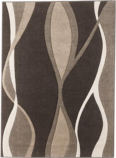 Ashley Furniture Signature Design – Cadence 5 x 7 Medium Rug – Comtemporary – Wave Design in Brown Tan White