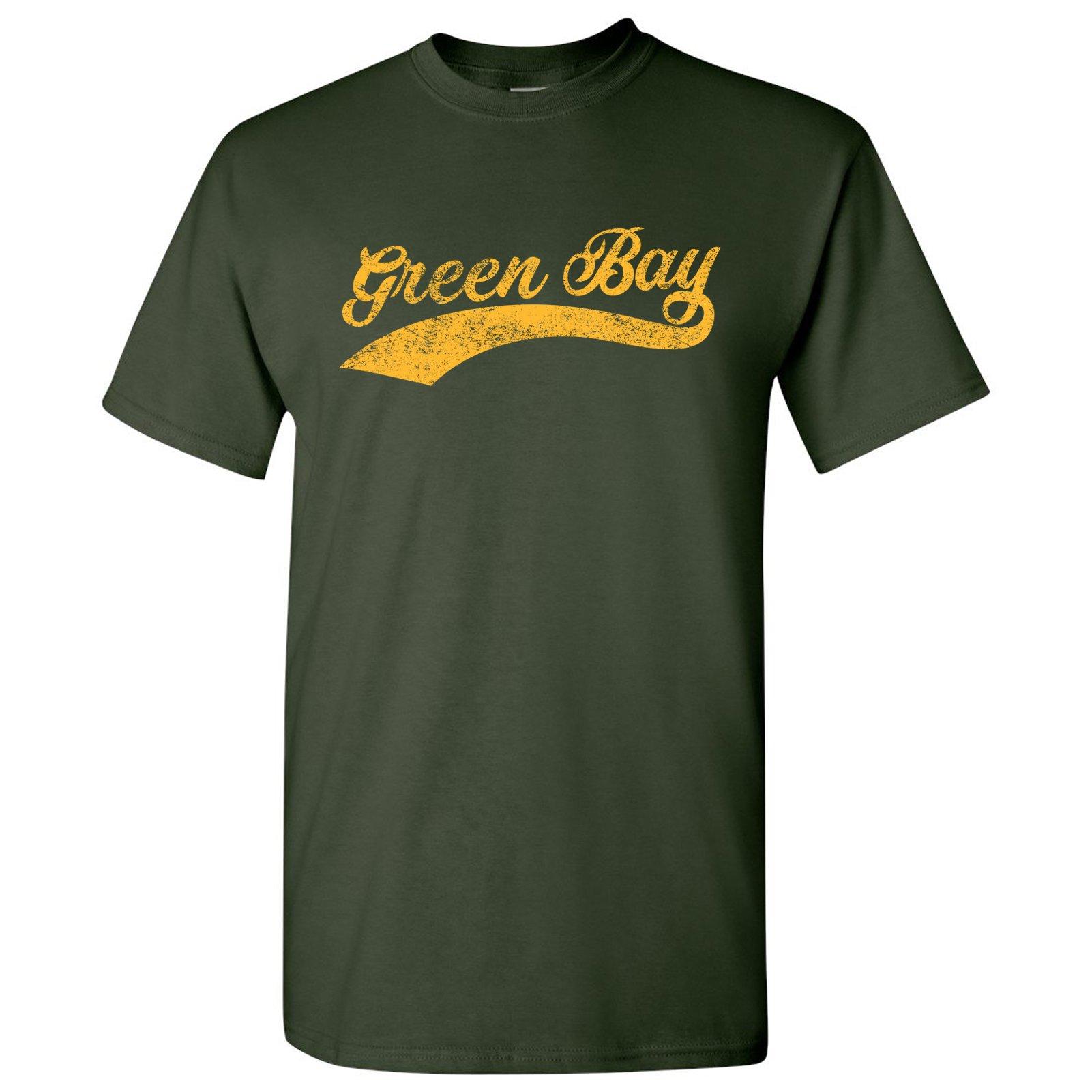 Green Bay City Script - Baseball, League, Homerun, Majors, Hometown Pride T-Shirt - 3X-Large - Forest