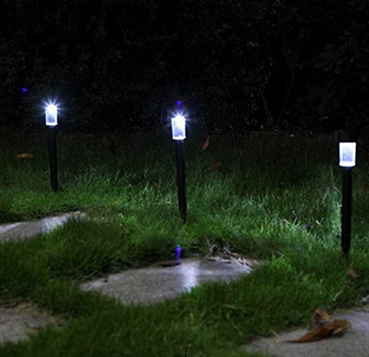 Quace Solar Garden Light with Spikes Ambient Lighting Pathway Landscaping - Set of 5