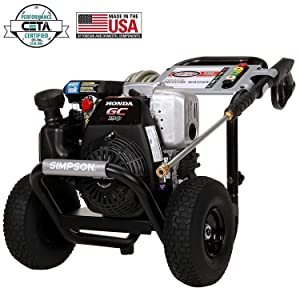 SIMPSON Cleaning MSH3125 MegaShot Gas Pressure Washer Powered by Honda GC190, 3200 PSI at 2.5 GPM