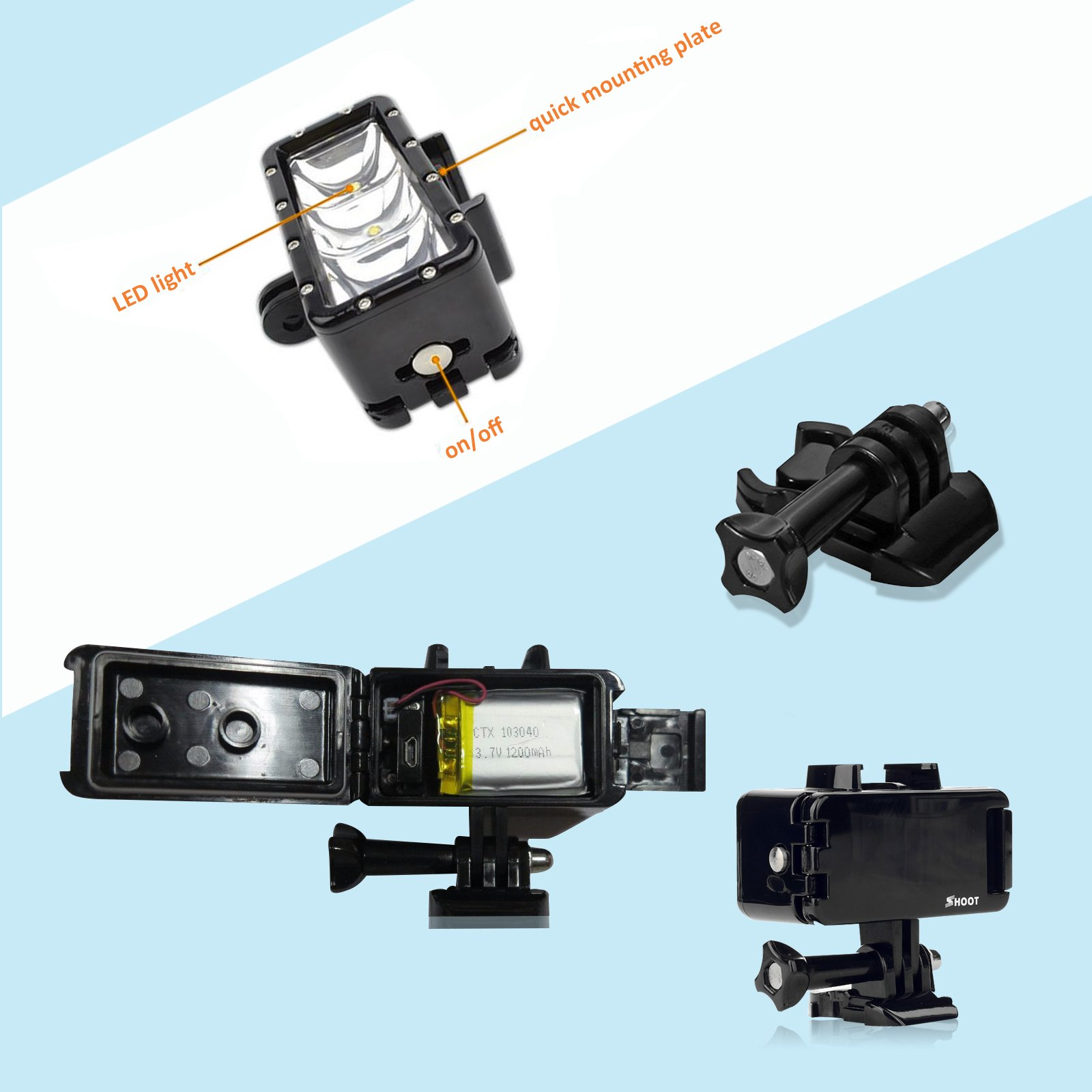 SHOOT Waterproof 30m Diving Light High Power Dimmable LED Underwater Fill Light for GoPro Hero 6/5/5S/4/4S/3+,Campark AKASO DBPOWER Crosstour SHOOT Camera with 1200mAh Built-in Rechargeable Battery by SHOOT (Image #4)