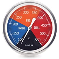 GALAFIRE 2 6/8 inch Grill Thermometer for Smoker Charcoal Pit BBQ Temperature Gauge and Heat Indicator for Meat Cooking