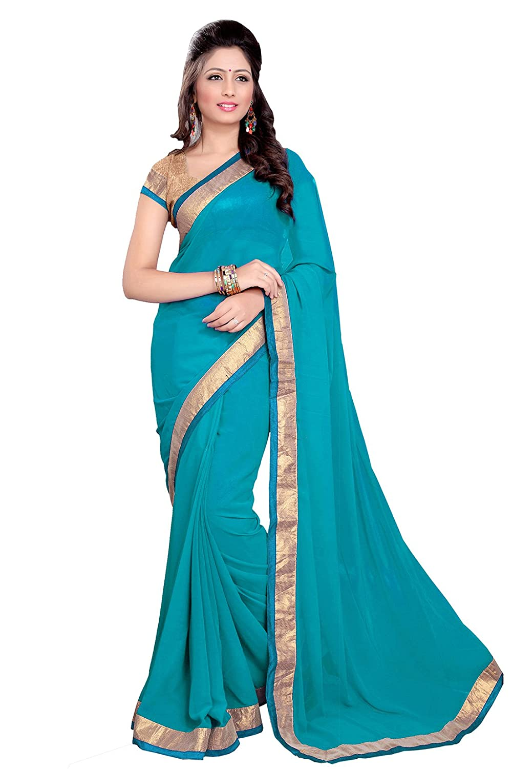 SOURBH Georgette Saree (171_Turquoise)