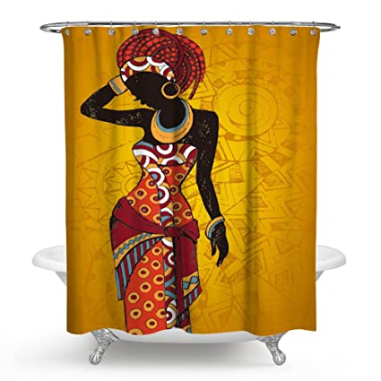 Chengsan Women Black Shower Curtain African With Purple Hair Hairstyle Waterproof Mildew Resistant Fabric