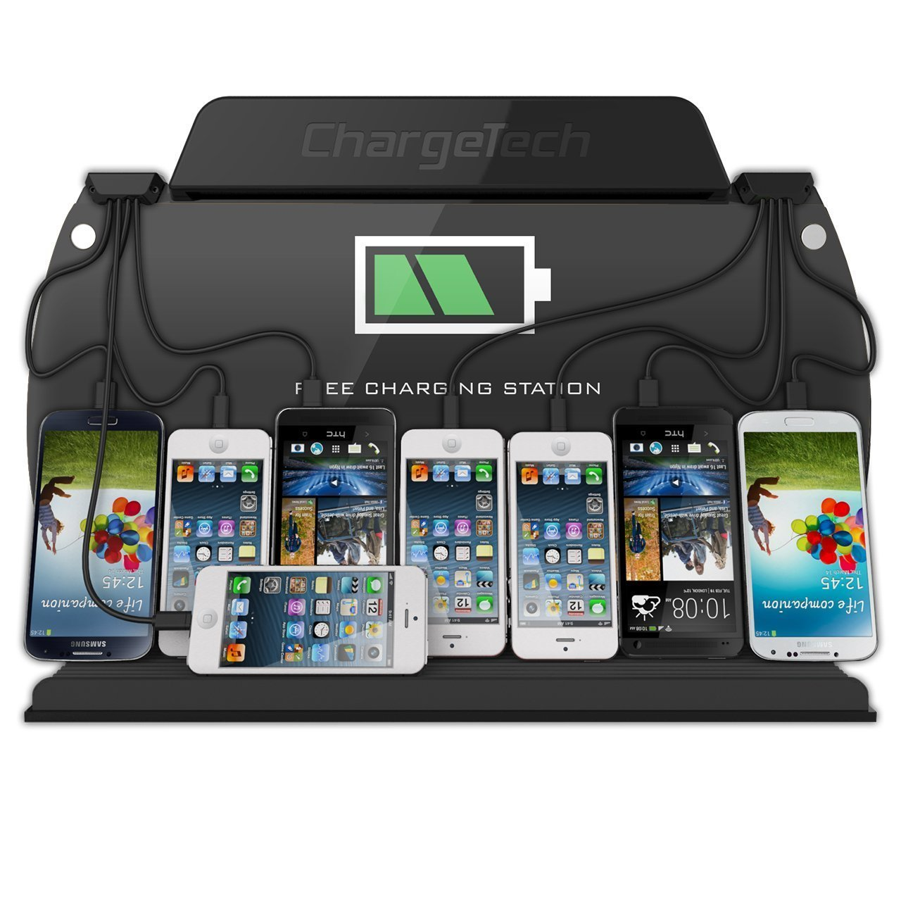 ChargeTech Wall Mounted Cell Phone Charging Station Dock Hub w/ 8 High Speed Cables for All Devices: iPhone, Samsung, Android, Tablets - Fully Customizable Cables & Background Art (Model: WM9)