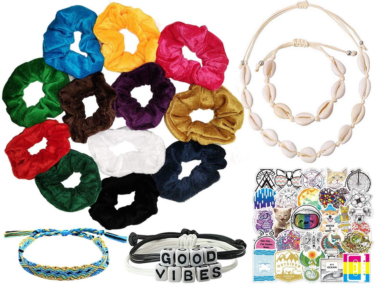 Velvet Hair Scrunchies and BeYumi65Pcs VSCO Girl Stuff Set-VSCO Girl Stickers
