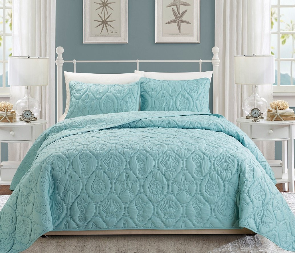 3-Piece Tropical Coast Seashell Beach KING Bedspread Spa Blue Coverlet Embossed Bed Cover set. Sea Shells, Sea Horse, Starfish etc.