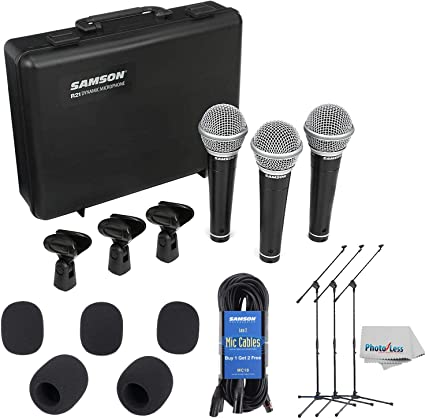 Samson R21 Dynamic Vocal Microphone 3-Pack with Case