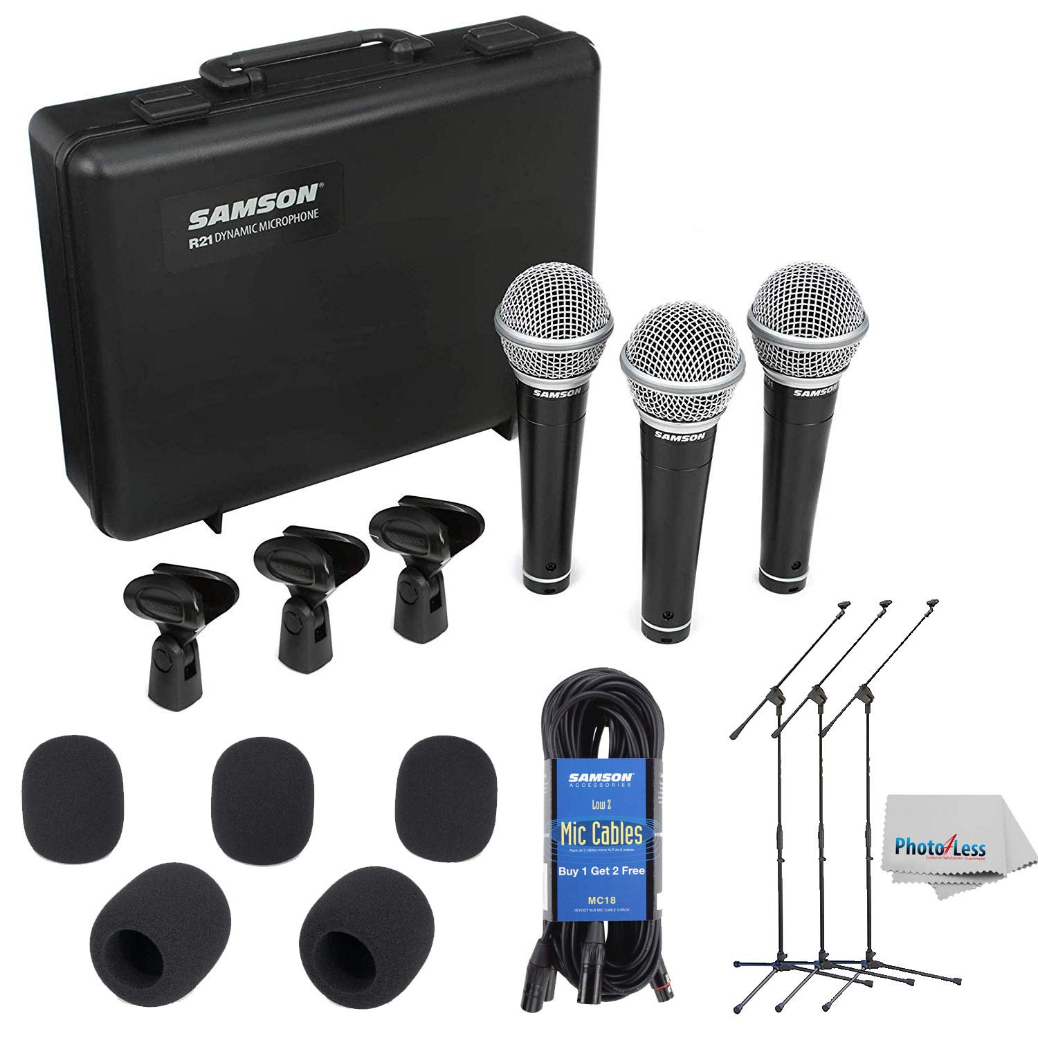 Samson R21 - Dynamic Vocal/Presentation Microphone 3-Pack For live Performance and recording + Lightweight Boom Mic Stand + 18' Mic Cable (3 pack) + 5 Mic Windscreens & Clean Cloth by Samson Technologies