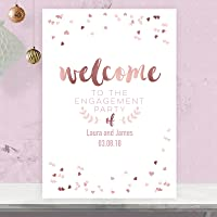 Personalised Welcome To Our Engagement Party Table Sign In Rose Gold Effect and Blush Pink (RGP56)