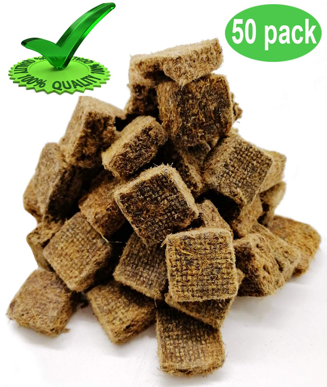 Senneny 100% All Natural Charcoal Starters 50 Cubes Fire Starter for BBQ Grill Smoker and Kamados