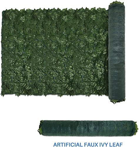 E K Sunrise 39 x 156 Faux Ivy Privacy Fence Screen with Mesh Back-Artificial Leaf Vine Hedge Outdoor Decor-Garden Backyard Decoration Panels Fence Cover – Set of 4