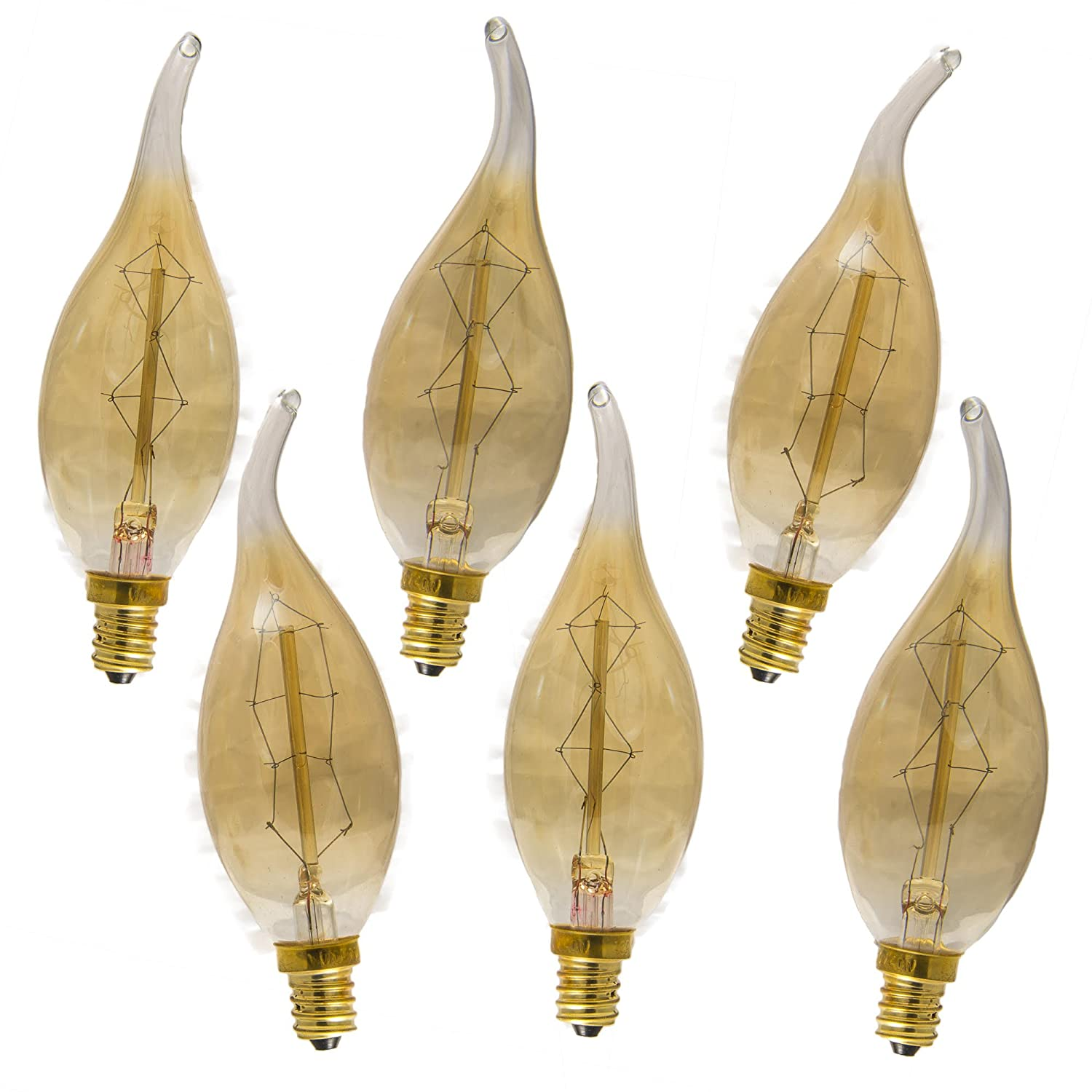Enlightened ambience 40 watt antique edison style chandelier light enlightened ambience 40 watt antique edison style chandelier light bulb e 12 dimmable with flame tip set of 6 amazon arubaitofo Choice Image