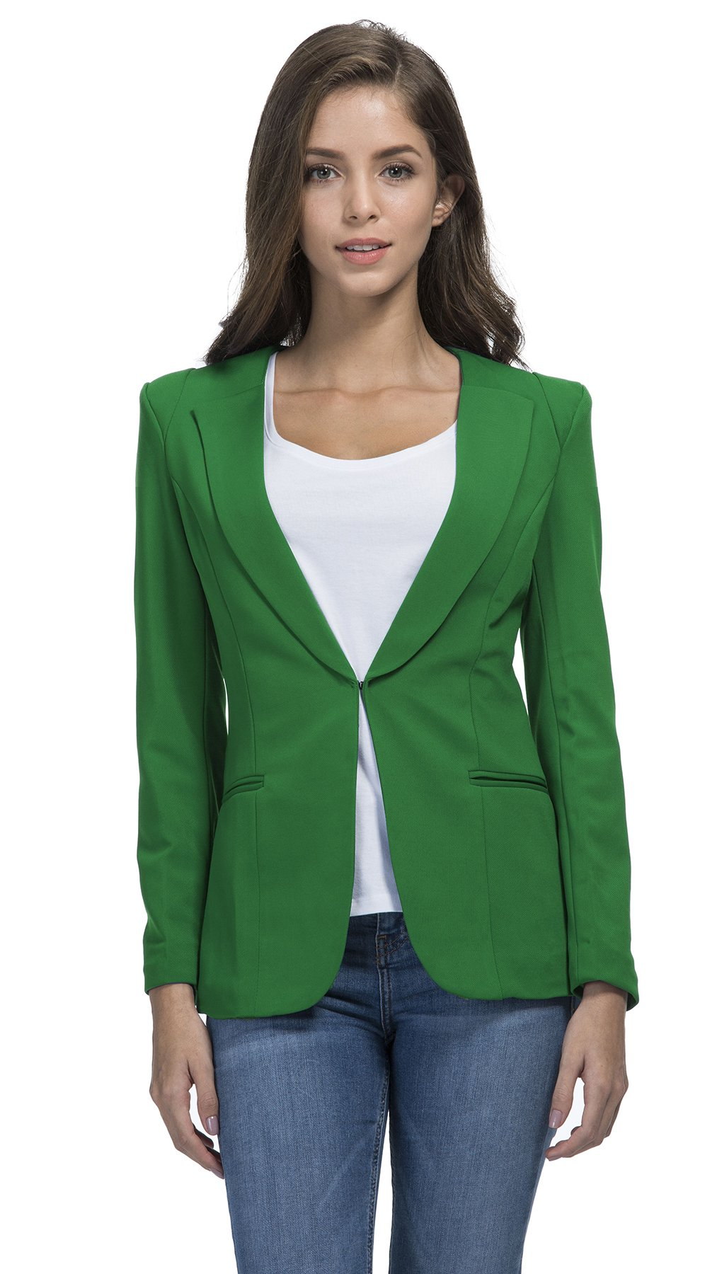 RubySports Women Clothing RS Womens Casual Basic Work Office Cardigan Tuxedo Blazer Boyfriend Jacket Green 4