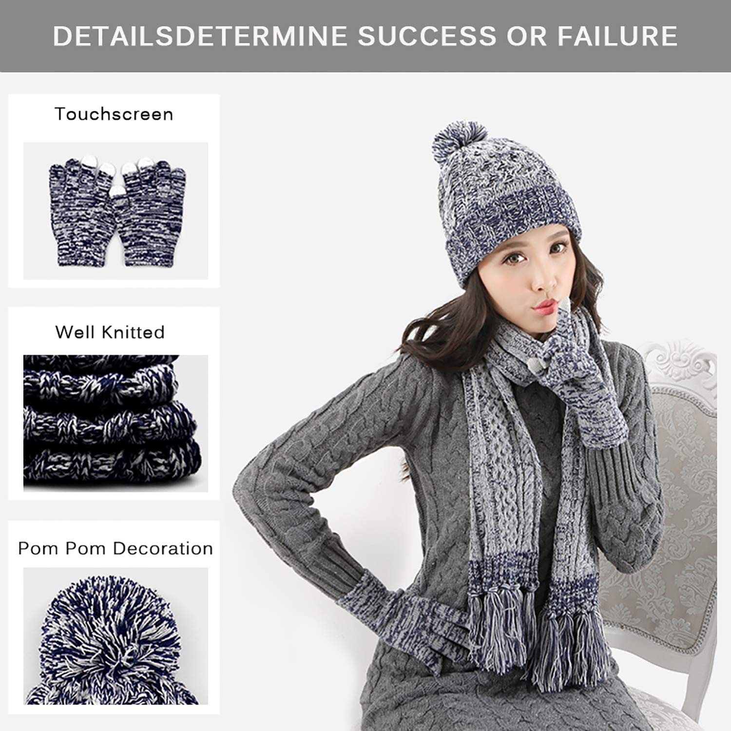 DTBG Knitted Beanie Gloves /& Scarf Winter Set Warm Thick Fashion Hat Mittens 3 in 1 Cold Weather For Women