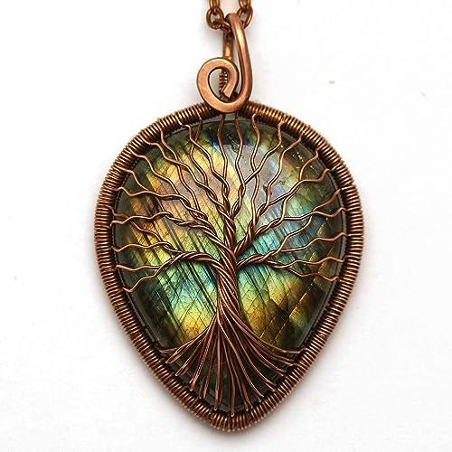 Amazon Com Labradorite Necklace Tree Of Life Pendant Handmade