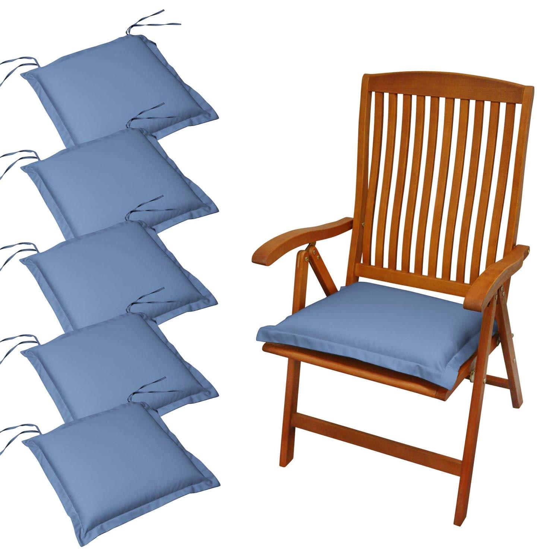 Indoba 6 x Sitzkissen Premium Polsterauflage Blau