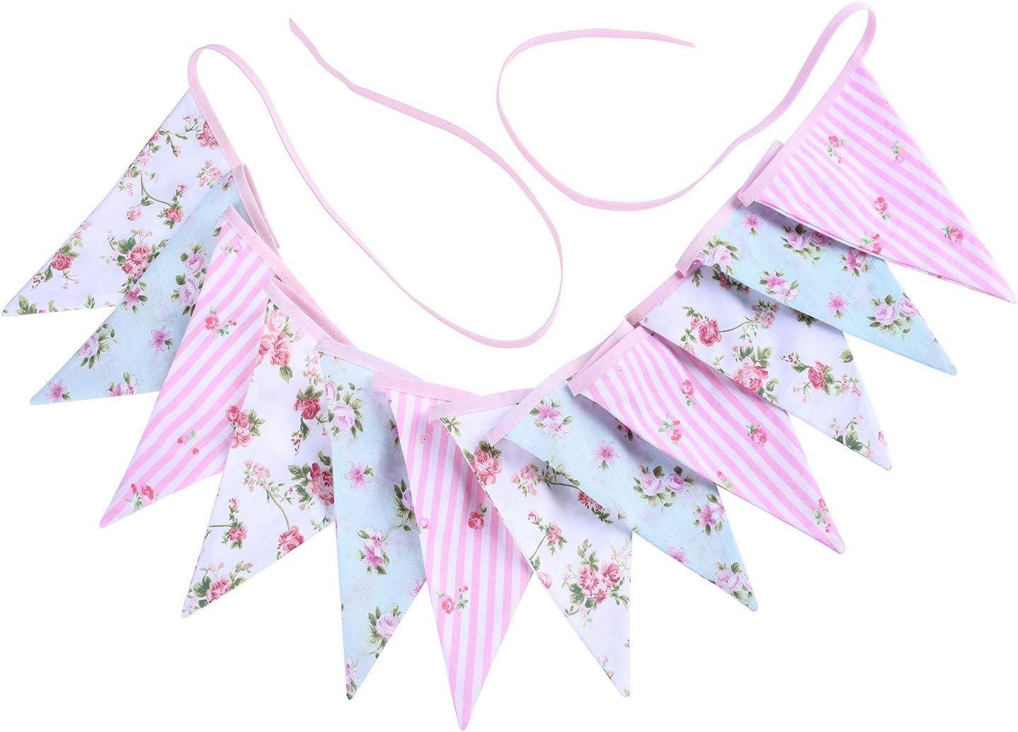 14 x 18,5 cm Banderines estilo vintage con dise/ño de flores y tri/ángulos