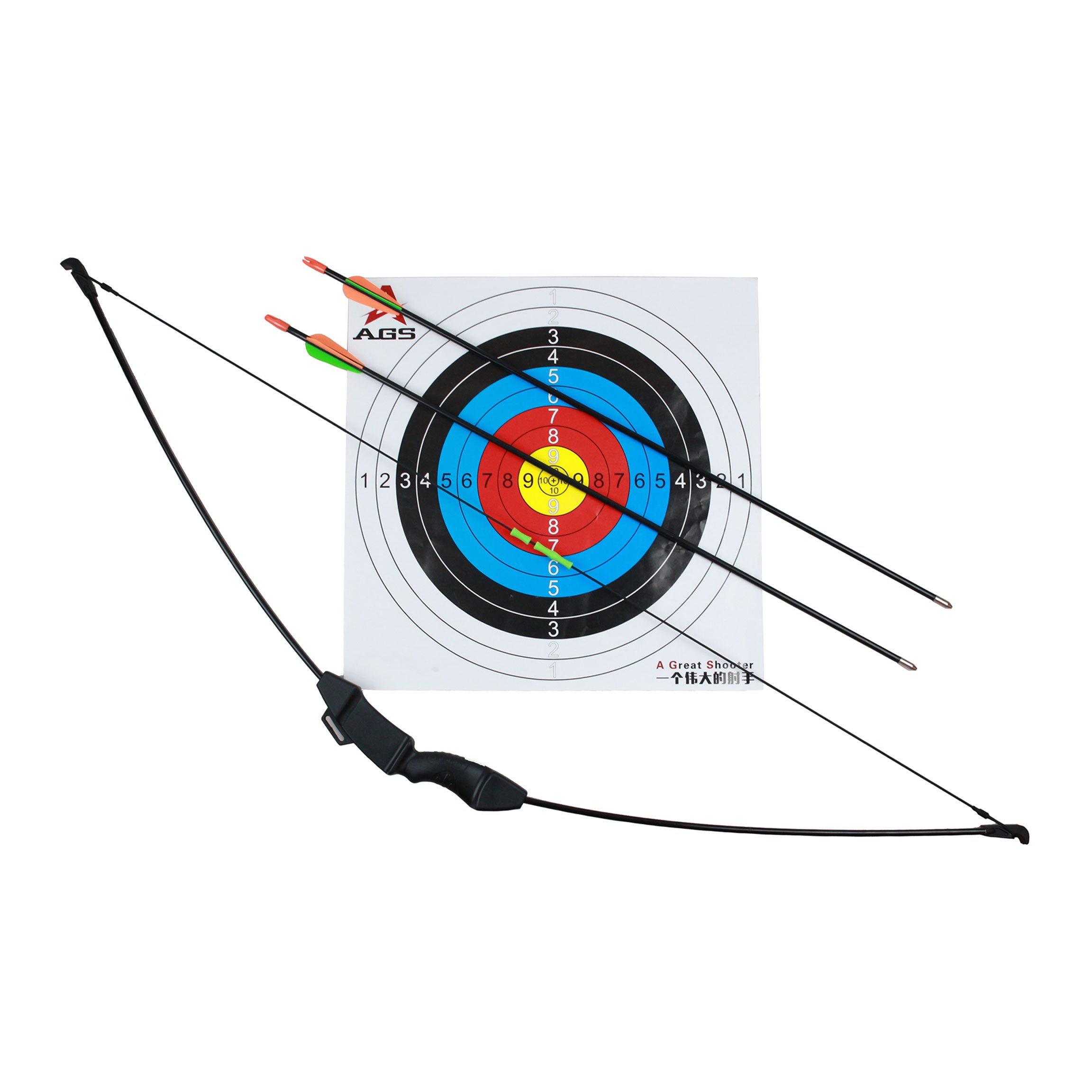 Geelife 45'' Basic Archery Bow and Arrow Set Start Recurve Bow Outdoor Sports Game Hunting Toy Gift Bow Kit Set with 2 Arrows and Target Sheet 18 Lb for Teens