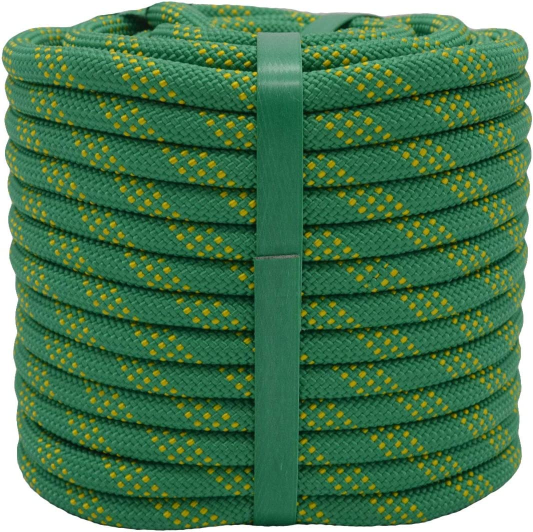 YUZENET Static Rock Climbing Rope 2/5 Inch 100 Feet Outdoor Safety Fire Escape Rope Rappelling Rope,Green/Yellow