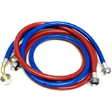 2-Pack PVC and Inside Nylon Braided Premium Washing Machine Hoses - 8 FT No-Lead Burst Proof Red_Blue Colored Water Inlet Sup