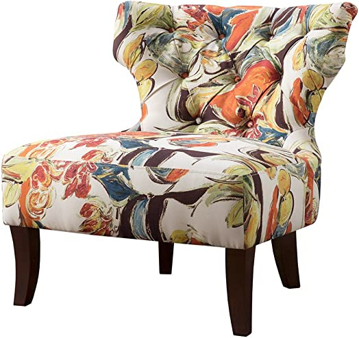 ModHaus Living Contemporary Orange Green Blue Multi Color Floral Abstract Print Upholstered Armless Accent Chair
