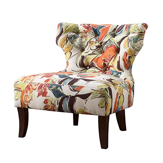 ModHaus Living Contemporary Orange Green Blue Multi Color Floral Abstract Print Upholstered Armless Accent Chair with Dark Wood Legs – Includes Pen