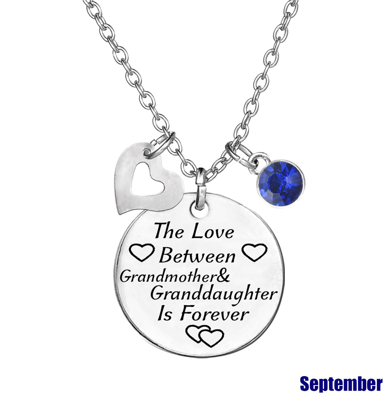 TISDA Birthstone Crystals Necklace,The Love between Grandmother and Granddaughter is Forever Necklace Family Jewelry Christmas Gift (September) by TISDA (Image #2)