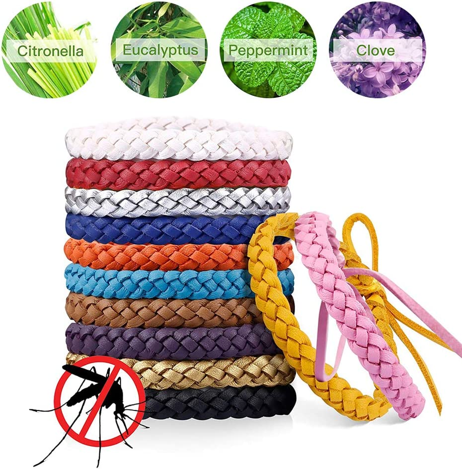Leather Wristbands All Natural Anti Insect Long Protection Outdoor Camping For Adults Kids 12 Pack SONSYON Mosquito Repellent Bracelet