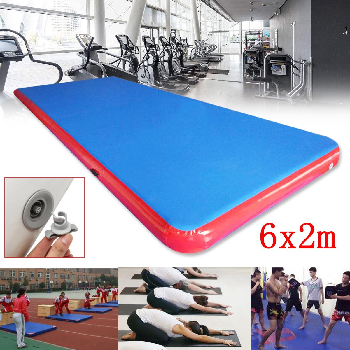Winnerbe 236x78x7.87inch Inflatable Air Track Tumbling Gymnastics Mat Fitness Training Yoga Pad