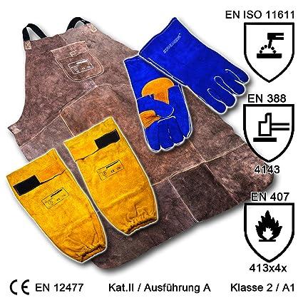 STAHLWERK - Juego de protección para soldador (delantal + guantes de soldar + protector de