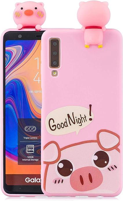 HopMore Coque pour Samsung Galaxy A7 2018 Silicone Souple 3D Motif Licorne Panda Drôle Mignonne Etui Samsung A7 2018 Étui Antichoc Ultra Mince Fine ...