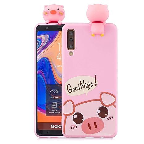 KANTAS Funda Samsung Galaxy A7 2018, Carcasa de Silicona Cover Soft Silicone Case Ultra Fino Dibujos Animados Protección Carcasa para Samsung Galaxy ...