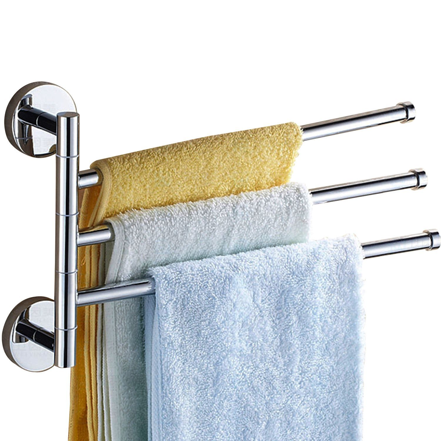Luxury Bathroom Solid Brass Chrome Polished Rotate 3 Arms Towel BarRail Rack Swivel Holder,Wall Mounted